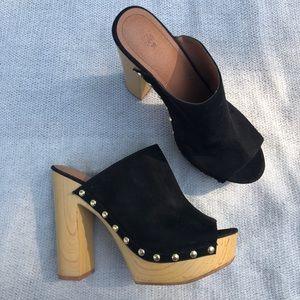 Black Open Toed Clogs with Gold Hardware